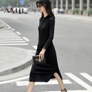 【预售】【AMII超级大牌日】2017春装女新品POLO领拉链修身针织连衣裙11780234