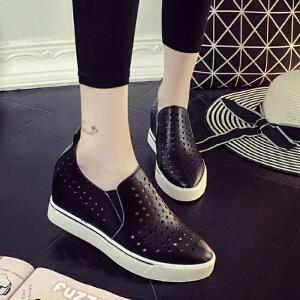坡跟厚底小白鞋2017春夏季新款韩版内增高休闲鞋女学生单鞋镂空透气套脚百搭女鞋ZR-1608