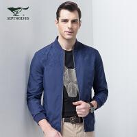 七匹狼夹克男jacket 2017新款商务时尚休闲棒球领茄克男士外套
