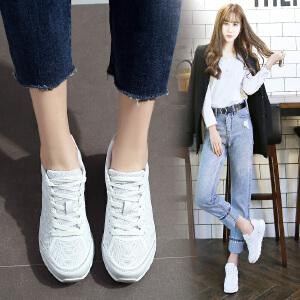 ZHR2017春季新款厚底小白鞋女韩版休闲运动鞋内增高女鞋平底单鞋G103