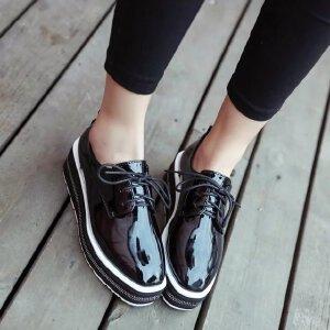 【17年春季新款】 欧美百搭女鞋系带布洛克松糕鞋平跟厚底休闲鞋单鞋优雅内增高鞋子