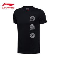 李宁男装短袖T恤2017新款男士BAD FIVE休闲圆领上衣夏季运动服AHSM555
