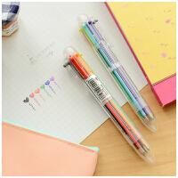 三年二班●创意文具 可爱多色圆珠笔 多功能按动彩色油笔 6支笔芯