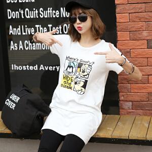 卡通印花短袖T恤中长款韩版女装BB17346