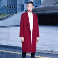 【AMII超级大牌日】[极简主义]2016冬装百搭翻领宽松长款羊毛呢子大衣女双面呢