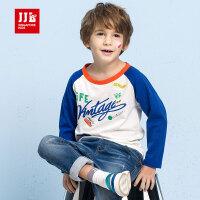 季季乐童装17秋季新款男童t恤长袖纯棉圆领中小儿童休闲卡通上衣