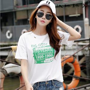 2017韩版女装夏装新款破洞印花bf风宽松上衣棉质短袖T恤女学生