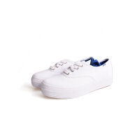 Keds 帆布鞋女士TRIPLE 系带厚底帆布鞋休闲女鞋松糕鞋百搭小白鞋