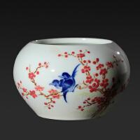 【当代官窑】釉中五彩喜上眉梢笔洗  陶瓷研究所