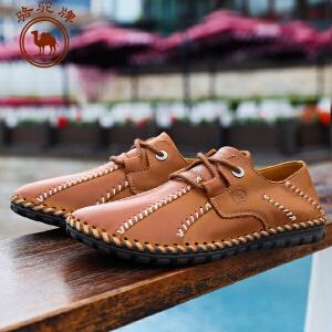 骆驼牌 春季新款 日常休闲男士皮鞋潮流纯色系带低帮鞋耐磨