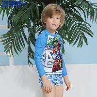 ZOKE洲克男童分体泳衣长袖 漫威总动员防晒速干男童泳衣