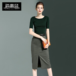 海青蓝2017春秋装新款针织毛衣T恤圆领两件套包臀中长裙套装女6022
