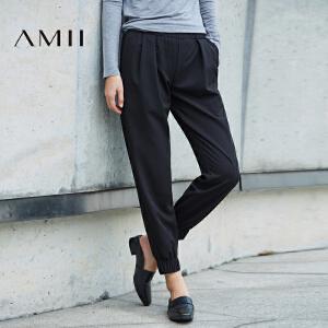 Amii[极简主义] 2017春新直筒纯色橡筋插袋九分休闲长裤11740084