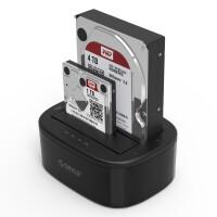 奥睿科ORICO 6228US3 双盘位2.5/3.5英寸串口通用硬盘座USB3.0高速传输脱机拷贝机硬盘底座 支持SATA、SSD固态硬盘 黑色
