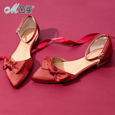 茵曼女鞋2017夏新款时尚性感红尖头腕带蝴蝶结单鞋(预售3月23日发货)