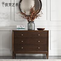 优梵艺术 Carpa美式实木三斗玄关隔断柜抽屉式储物收纳柜卧室柜子