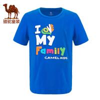 小骆驼童装2017年春夏季儿童圆领短袖休闲T恤男女童中大童体恤衫
