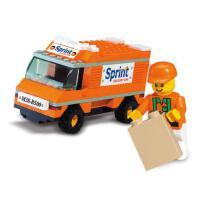 小鲁班拼装积木儿童智力拼插玩具货物快递车模型男孩6岁以上