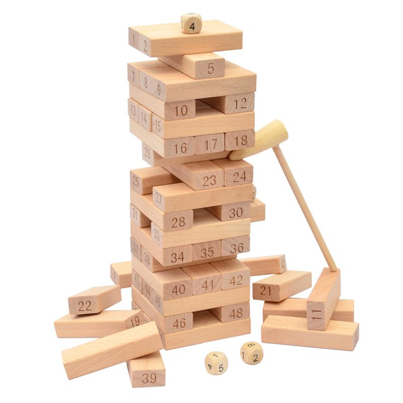 叠叠乐数字彩色叠叠层层叠抽木条积木儿童益智成人玩具桌面游戏