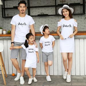 【当当年中庆】2017新款夏装韩版一家三口T恤母女装印花短袖亲子装