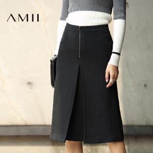 【AMII超级大牌日】[极简主义]2017年春通勤百搭优雅风琴褶直筒中长半身裙