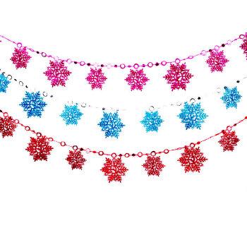 圣诞装饰 圣诞节礼品 吊饰彩色圣诞雪花片串 2米长 10片雪花