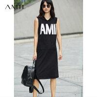 Amii[极简主义]2017夏装新款直筒连帽印花口袋无袖连衣裙11741562