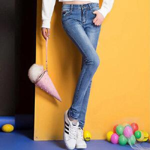 2017春夏秋季新款女式显瘦修身牛仔裤百搭潮流韩版小脚裤WM1701
