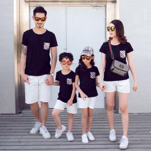 白领公社 亲子装 夏装三口短袖全家装2017新款潮婴儿四口家庭装母女装母子装t恤