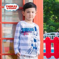 托马斯童装正版授权春款新款男童长袖T恤中大童纯棉条纹圆领卡通打底衫