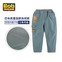 BOB童装巴布工程师冬新款男童裤子加厚长裤中大童卡通休闲保暖童裤