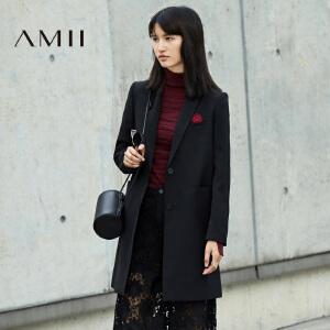 【AMII超级大牌日】[极简主义]2017年春新女大码翻领开襟时尚贴章休闲西装11693038