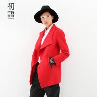 初语冬季新品 西装廓形中长款毛呢外套女8531224009