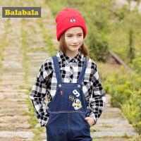 巴拉巴拉童装女童衬衫中大童儿童秋装2017新款印花帅气纯棉衬衣女