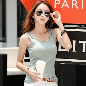 2017夏季韩版打底无袖吊带衫修身纯色棉质内搭U型工字小背心女