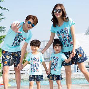 【当当年中庆】2017新款亲子装夏季 韩版全家装花裤子T恤 海滩装