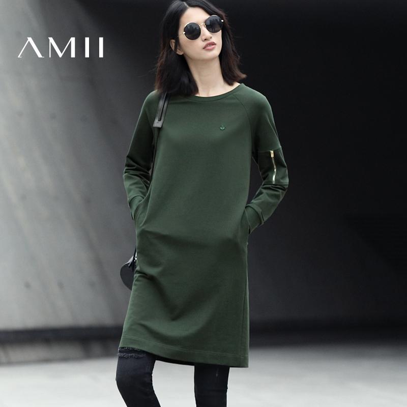 Amii[极简主义]2017春新通勤全棉圆领插肩袖纯色短连衣裙11740214预售 5月5号 发货