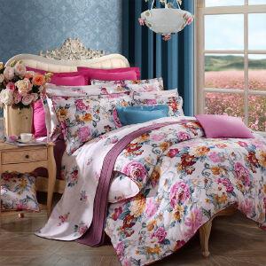 [当当自营]富安娜家纺全棉床上四件套纯棉套件1.5m床上用品床单四件花韵倾城