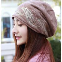韩版时尚加绒头巾帽 个性针织帽包头光头孕妇女帽堆堆帽