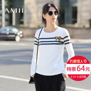 Amii[极简主义]2017春新品百搭条纹印花刺绣休闲打底大码长袖T恤