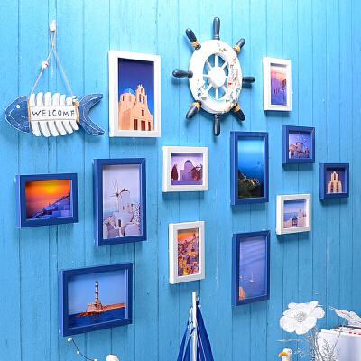 御目 照片墙 地中海风格挂饰餐厅组合墙贴简约儿童房相框挂相片客厅现代装饰欧式默认发汇通、邮政快递,店铺满89元免运费