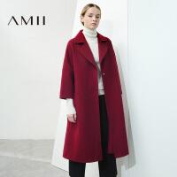 【AMII超级大牌日】[极简主义]2016秋冬新款翻领宽松羊毛呢外套女中长款11642313