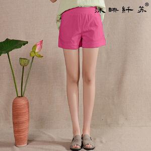 夏装新款亚麻短裤直筒宽松显瘦韩版女装棉麻大码松紧腰短裤女装