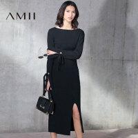 【当当女装盛典 5折价188.5元】【预售】Amii2017春修身绑带长袖开衩包臀半裙针织套装11781436