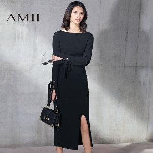 【预售】Amii2017春修身绑带长袖开衩包臀半裙针织套装11781436