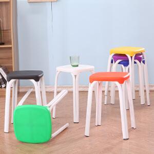 御目 餐椅 塑料板凳方凳子椅子家用餐桌餐凳加厚成人时尚创意高凳高圆凳 创意家具