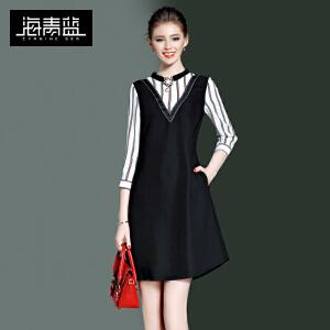 海青蓝2017春装新款时尚条纹拼接七分袖修身显瘦A字连衣裙女8331