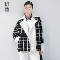 初语 冬季新品  羊羔绒质拼接撞色格纹廓形毛呢大衣女 8540704001