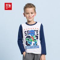 季季乐童装男童纯棉长袖T恤中大童上衣儿童打底衫秋装2017新款T恤童装