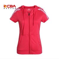 【618狂嗨继续】CBA女子运动短T夏季女款纯棉透气拉链开衫针织上衣